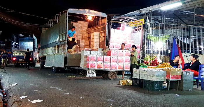 bốc vác hàng hóa nông sản tại chợ đầu mối